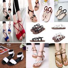 Women Flat Diamante Lace Up Rubber Peeptoe Sandles Strappy Shoes UK Size 2-7.5
