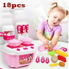 18pcs Pink Children's Kids Play Kitchen Cooking Plates Cutlery Toy Set UK