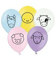 "Farm Animals 12"" Latex Assorted Balloons Kids Farmyard by PARTY DECOR Pack of 5"