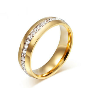 Gold Crystal CZ Ring Womens Mens Jewelry Band Ring Wedding Engagement Size 7