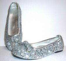 SILVER GLITTER PRINCESS SHOES WITH BOWS HALLOWEEN COSTUME GIRL'S LARGE