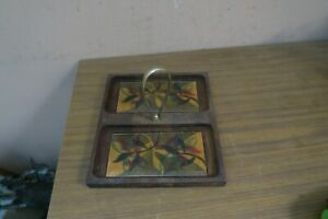 MODERNIST VINTAGE MCM ENAMEL ON COPPER DISH 2 COMPARTMENT WOOD BASE WITH HANDLE