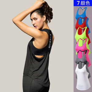 Women T Back Yoga Tank Tops Sprots Running Vest Fitness Workout Activewear 2011