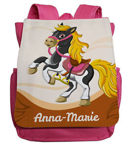 kleiner Kindergartenrucksack mit Namen   Motiv Pferd in pink   für Mädchen