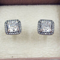 Authentic 100% 925 Sterling Silver Timeless Elegance CZ Stud Earrings