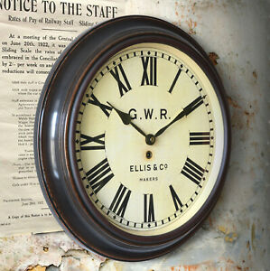 """Railway Station 16"""" Large Wall Clock GWR Great Western  Full-size quality repro"""