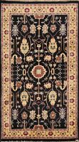 Vegetable Dye Traditional Style 3x5 Black Oushak Peshawar Area Rug Hand-knotted