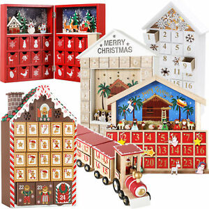 BRUBAKER Wooden Empty Advent Calendar Xmas Train Crib House Forrest Drawers DIY