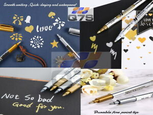 Metallic Waterproof Permanent Marker Craft Paper Card Xmax Gifts Gold & Silver