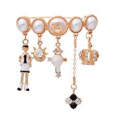 Charm Crystal & Pearl Pin Cross Crown Brooch No 5 Pin with Tassel