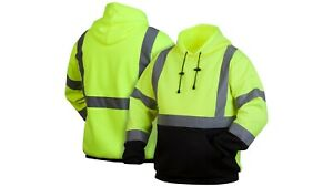 Pyramex RSSH32 Hi-Vis Hoodie Sweatshirt Class 3 Safety Lime M-5XL Work Gear