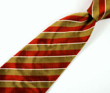 """Dunhill 58"""" Long Mans Tie Fine Silk Gold Brown Stripe made in England"""