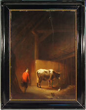 Willem Linnig the Elder (1819-1885) Belgium, Farmer w/ Cow Signed 1843