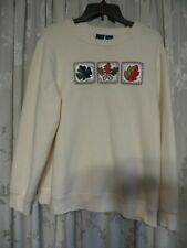 Women's Sweatshirt OFF WHITE w/Embroidered Leaves Basic Editions Size 1X