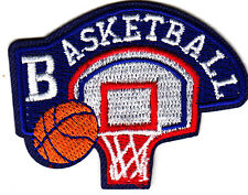 """BASKETBALL"" -  Iron On Embroidered Applique Patch- Sports, Games, Compete"