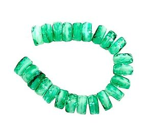 50 Preciosa Czech Fire Polished Opaque Green White 8mm Faceted Disc Beads