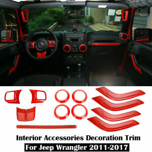 2 Door Highitem Carbon Fiber Full Set Interior Decoration Trim Kit Interior Accessories for Jeep Wrangler 2011-2017