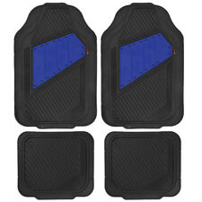 Motor Trend FlexTough Rubber Floor Mats - 2 Tone Heavy Duty All Season - Blue