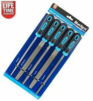 "5pc 8"" Inch Engineers File Set for Metal Round Flat Triangular Half Round Square"