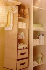 HANGING CLOSET ORGANIZER 6 SHELF 2 DRAWERS STORES CLOTHES SHOES ACCESSORIES