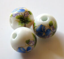 25pcs 12mm Round Porcelain/Ceramic Beads - White / Dark Blue Flowers