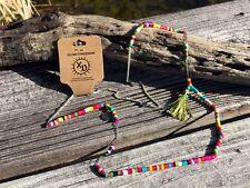 Rainbow Beaded Tribal Necklace - mala tassel vegan pura vida boho 100% handmade