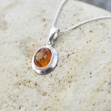 Vintage Natural Baltic Amber Pendant Cognac Brown Sterling Silver Oval Handmade
