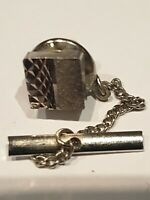 Antique/Vintage Silver Tone Patterned Faceted Square Shaped Tie Tack/Lapel Pin