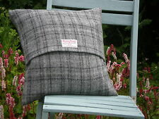 "HARRIS TWEED CUSHION COVER 16"" X 16"" BLACK AND GREY CHECK"