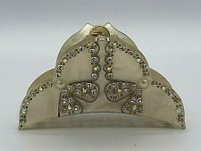 Stunning Vintage Crystals on Ivory Tortoise Hair Claw Clip