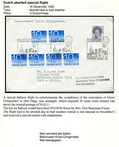 """1982 BALLONPOST env met stempel  """"... Huize Clingendael niet doorgegaan"""""""