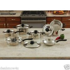 18 Piece Stainless Steel Cookware Set with Steam Control Knobs 9 Element T304
