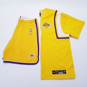 USED Vintage Nike LA Lakers Team Issue Warm Up Jersey & Shorts XXL Fast Shipping
