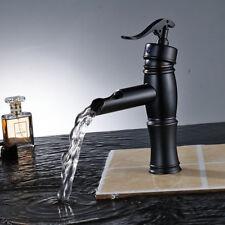 Waterfall Single Handle Bathroom Basin Sink Faucet Oil Rubbed Bronze Mixer Tap
