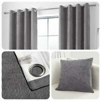 Curtina KILBRIDE CORD Charcoal Chenille Eyelet Curtains & Cushions