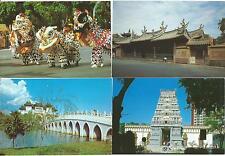 "SINGAPORE - Four 6"" x 4"" Postcards TEMPLES, LION DANCE & YU HWA YUAN GARDENS"