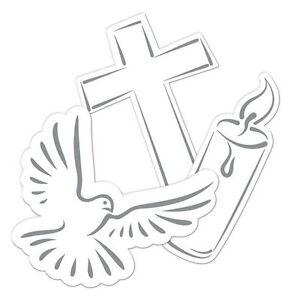 Streudeko Taube Kerze Kreuz, weiß/silber, ca. 10,5 cm, 24 St.