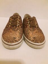 Bradford Exchange Women's Leopard Lace Up canvas Sneakers Sizes 6
