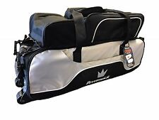 Brunswick Crown Triple 3 Ball Tote Bag with Shoe Pocket Tow Wheels Black/Silver