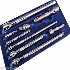 "9pc Extension Bar Set Wobble 1/4"" 3/8"" 1/2"" Drives 50 - 250mm Long"