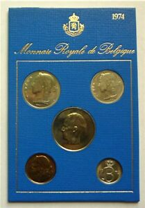 1974 BELGIUM - OFFICIAL SPECIMEN FLEUR DE COINS FDC SET (5) - FRENCH LEGEND