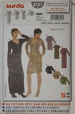 Burda 8147 Sewing Pattern Mock-Wrap Bodice Fitted Dresses 10-24 Seams Included