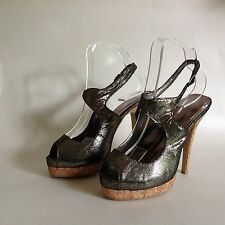 Atmosphere Primark Pewter Cork Heel Platform Peep Toe Sling Back Shoe UK 4 EU 37