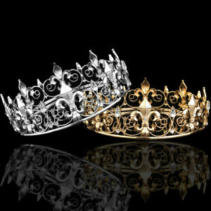 Men's Imperial Medieval Fleur De Lis King Crown Crystal Plated Prom Party  HH