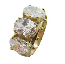 9ct Yellow Gold Oval White CZ Fancy Trilogy Three Stone Half Eternity Ring