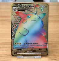 Pokemon Pikachu VMAX 188/185 Vivid Voltage GOLD METAL CARD Full Art DISPLAY