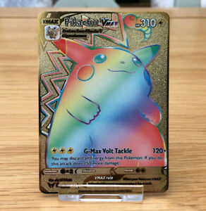 Pokemon Pikachu VMAX 188/185 Vivid Voltage GOLD METAL CARD Full Art DISPLAY