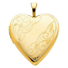 Real 14K Solid Yellow Gold Engraved Heart Photo Locket Charm Pendant No Chain