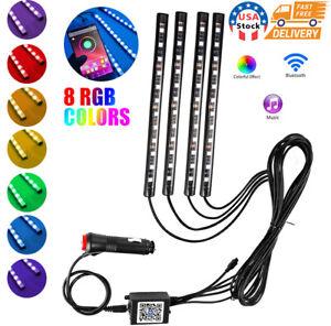 4x 12 LED RGB Car Interior Atmosphere Light Strip Phone Bluetooth APP Control