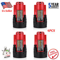 4XFor Milwaukee M12 Lithium 2.5AH Compact Battery Pack 12V 48-11-2402 48-11-2420